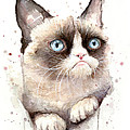 Grumpy Cat Watercolor by Olga Shvartsur