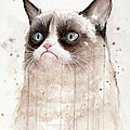 Grumpy Watercolor Cat by Olga Shvartsur
