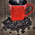 Grunge Red Coffee Mug And Beans by Sylvie Bouchard