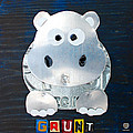 Grunt The Hippo License Plate Art by Design Turnpike