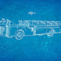 Grybos Fire Truck Patent Art 1940 Blueprint by Ian Monk
