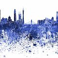 Guangzhou Skyline In Blue Watercolor On White Background by Pablo Romero