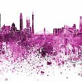 Guangzhou Skyline In Pink Watercolor On White Background by Pablo Romero