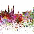 Guangzhou Skyline In Watercolor On White Background by Pablo Romero
