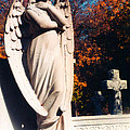 Guardian Angel Statue With Cemetery Cross by Kathy Fornal