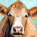 Guernsey Cream Cow On Light Green by Dottie Dracos