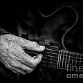 Guitar And Hand Bw by Jerry Fornarotto