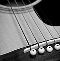 Guitar Bridge In Black And White by Paul Ward