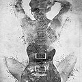 Guitar Siren In Black And White by Nikki Smith