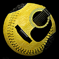 Guitar Yellow Baseball Square by Andee Design