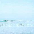 Gulls And Waves Blue by Theresa Tahara
