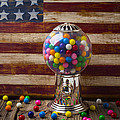 Gumball Machine And Old Wooden Flag by Garry Gay