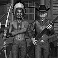 Gunfight At The Okey Dokey Corral - Black And White by Robert Crepeau
