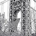 Gw Bridge American Flag In Black And White by Regina Geoghan