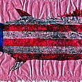 Gyotaku - American Spanish Mackerel - Flag by Jeffrey Canha