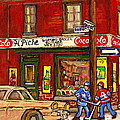 H. Piche Grocery - Goosevillage -paintings Of Montreal History- Neighborhood Boys Play Street Hockey by Carole Spandau