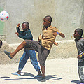 Haitian Boys Playing Soccer by Steven Baier