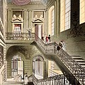 Hall And Staircase At The British by T. & Pugin, A.C. Rowlandson