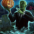Halloween Ghoul Rising From Grave With Pumpkin by Martin Davey