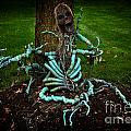 Halloween Green Skeleton Vinette by Iris Richardson