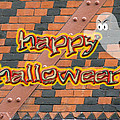 Halloween Greeting Card - Brick Wall In Philadelphia by Mother Nature