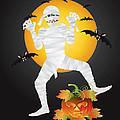 Halloween Mummy Carved Pumpkin Illustration by Jit Lim