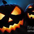 Halloween pumpkins closeup -  jack o'lantern by Johan Swanepoel