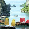 Halong Bay Sails 01 by Rick Piper Photography