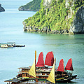 Halong Bay Sails 02 by Rick Piper Photography