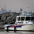 Halton Police Boat And Cn Tower by Michael Caron