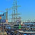 Hamburg Germany Sail Boat With Elbphilharmonie by M Bleichner