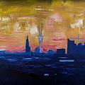 Hamburg Skyline At Dusk With Elbe Philharmonic Hall by M Bleichner