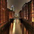 Hamburg Speicherstadt Bei Nacht by George Inness