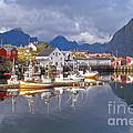 Hamnoy Fishing Village On Lofoten Islands by Heiko Koehrer-Wagner