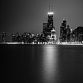 Hancock Building Reflection From North Ave Beach - Black And White by Anthony Doudt