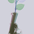 Hand Gun And Flower X-ray 3 by Tony Rubino