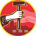Hand Holding Hammer Factory Retro by Aloysius Patrimonio