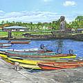 Hanga Roa Harbour by Brent Charbonneau