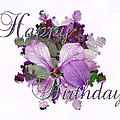 Happy Birthday Greeting Card - Purple Luneria by Mother Nature