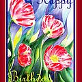 Happy Birthday Pink Poppies by Irina Sztukowski