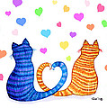 Happy Cats And Hearts by Nick Gustafson