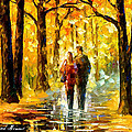 Happy Couple - Palette Knife Oil Painting On Canvas By Leonid Afremov by Leonid Afremov