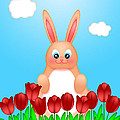 Happy Easter Bunny Rabbit On Field Of Tulips Flowers by Jit Lim