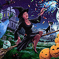 Happy Halloween Witch With Graveyard Friends by Martin Davey
