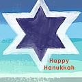 Happy Hanukkah Card by Linda Woods