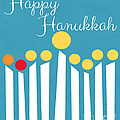 Happy Hanukkah Menorah Card by Linda Woods