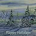 Happy Holidays - Snowy Winter Evening by Cascade Colors