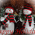 Happy Holidays - Christmas - Snowman Collection - Greeting Cards by Barbara Griffin