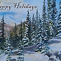 Happy Holidays Forest And Mountains by Cascade Colors