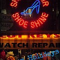 Happy Holidays - Neon Of New York - Shoe Repair - Holiday And Christmas Card by Miriam Danar